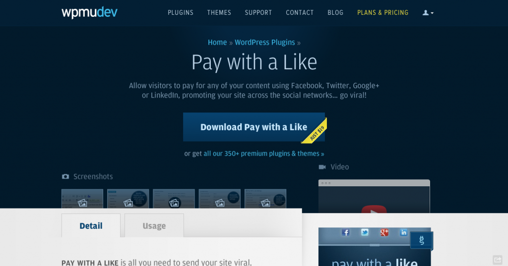 WordPress Pay with a Like Plugin WPMU DEV
